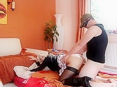 Blonde with model-like body fucked
