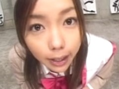 Epic japanese cum eater stuffs her face hole with THICK cream