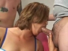 sasha knox satisfies a group of mates with her face hole