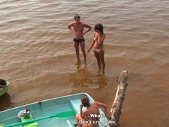 Students' group orgy at the lake