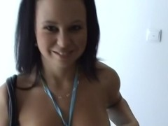 Krystinka in homemade porn with a bj and hard fuck in a forest