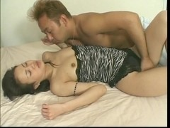 Japanese nympho with taut pink fur pie acquires licked and screwed on couch