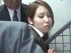 Youthful Officegirl groped in Teach