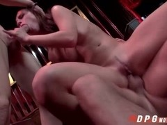 Sexy Aidras pink pussy gets pounded hard by a two hard cocks
