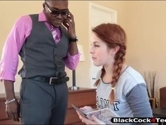 Cute redhead teenie Amarna Miller nailed by big black cocks