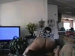 Fat ebony girl with huge boobs and booty has oral and cowgirl sex on the sofa with a titty cumshot