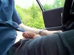 Reststop jerk-off in car