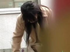 Noisy elegant Asian slag gets surprised during instant sharking action