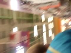 blonde milf upskirt at supermarket