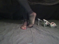 Crossdresser black nylon socks high heel show feet and soles