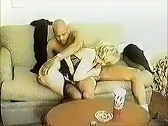 Married blonde slut fuck and engulf 2 BBC