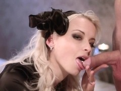 Beautiful blonde with wet pussy does her first blowjob