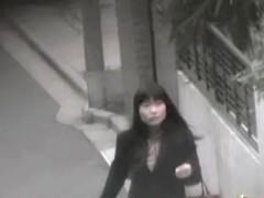 Elegant Japanese babe in hot stockings got street sharked.