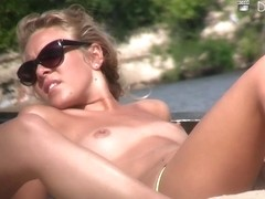 Skinny young girls with naked tits caught on the spy beach cam