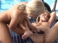 Blond teens Tara and Yasmin have dildo fun