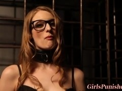 Bound sub spex clad lesbo whipped