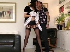 Attractive aged maid acquires muff sucked