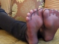 Cute beauty in Nylon feet