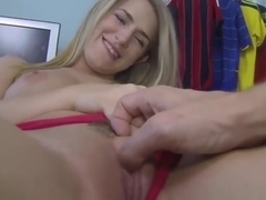 Hot buxomy Dixie Belle making guy happy by giving an amazing handjob