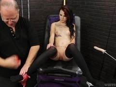 Brunette in stockings is fucked very hard by sex dildo