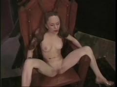Cute babe in kinky lesbian BDSM game