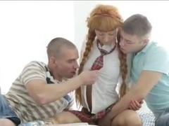Cute Schoolgirl and Two Boys