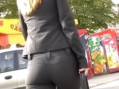 Darksome taut breeches on her booty