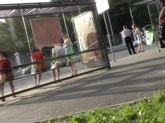 Babe in the summer dress was upskirted at the bus stop