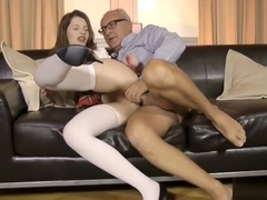 Euro schoolgirl bouncing on old man dick