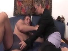 Young guy fucks granny with big knockers