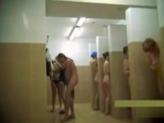 Teens and moms in public shower room