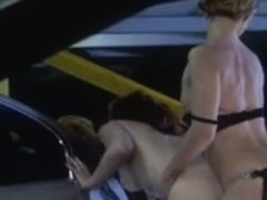 British lesbo floozy Kelle Marie fucking with a belt-on