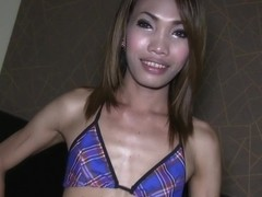 Ladyboy Earn in Jewel Butt Plug Creampie