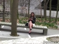 Belgian hottie sucks cock in public