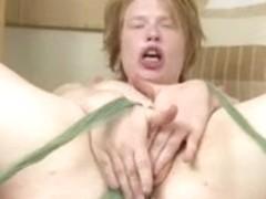 Pale Bushy Redhead Fingers Her Wet Vagina