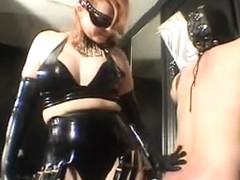 The femdom-goddess fondles her serf