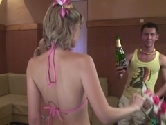 Group sex on a Hawaiian party with cumshots