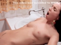 Hot brunette pussy fucked on sink