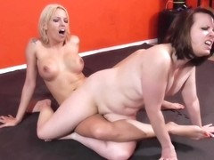 Milf Lesbians Trib And Rough Sex Fight Before One Fucks With A Dildo And Pussy Eating