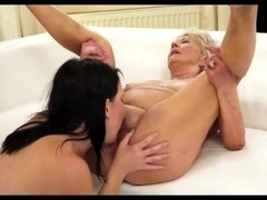 Slutty young brunette fucks with an old guy