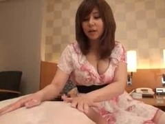 Busty Japanese whore in kinky outfit fucked