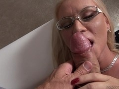 Blonde with filthy mouth pleases Rocco with a blowjob
