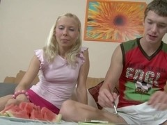 Cute Blonde Bella Explores Her Cock Lust