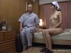 Maki Hokujo hot Japanese milf gets old man laid