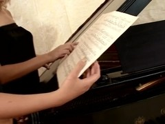 Fingering and pussy licking near the piano