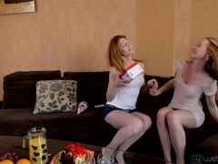 Horny lesbian teens play real sex games in porn movie