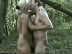 Swinger husband tapes his wife fucking a friend in the forest