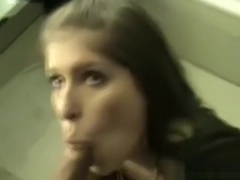 Dude gets an unexpected blowjob from a partyslut in the bathroom