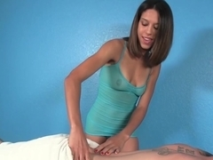Naughty small masseuse jerks client