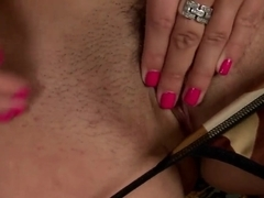 Nasta Zya with huge tits masturbates on staircase